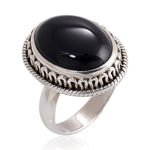 925 Oxidized Sterling Silver Natural Black Onyx Gemstone Oval Rope Edge Vintage Band Ring Size 8 (Sterling Gem Rings compare prices)