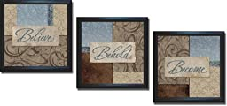Believe, Behold, & Become by Elizabeth Medley 3-pc Premium Satin-Black Framed Canvas Set (Ready-to-Hang)