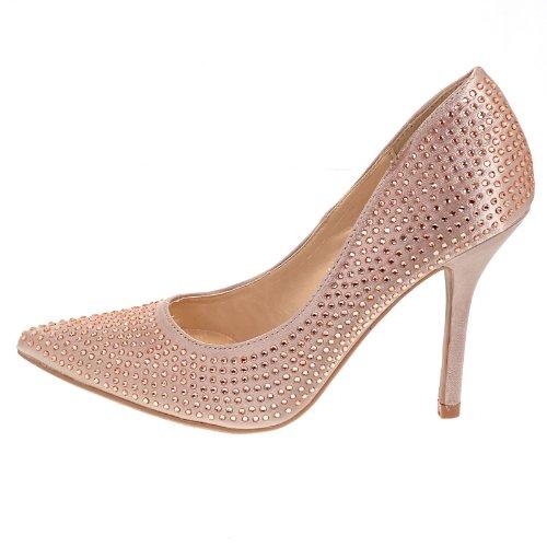 Sage Champagn Satin Pump Rhinestone Crystal Studded Close Toe Women Promise Shoe-7.5
