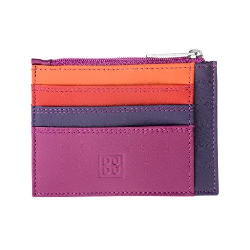 Bustina porta carte di credito in vera pelle colorata portafogli con zip DUDU Fucsia