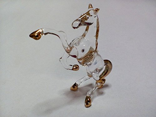 Lampwork COLLECTIBLE MINIATURE HAND BLOWN Art GLASS Glass Horse , Size S FIGURINE Copter Shop