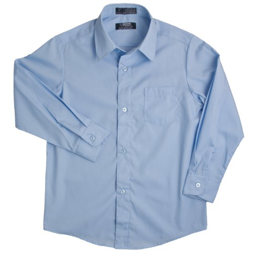 French Toast School Uniforms Long Sleeve Dress Shirt With Expandable Collar Boys Blue 2T front-111275