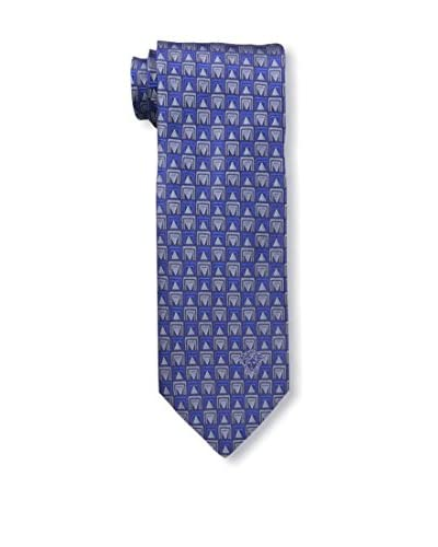 Versace Men's Geometric Woven Silk Tie, Blue