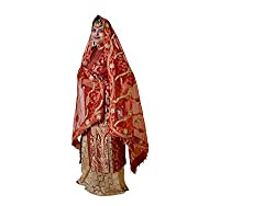 Dulhan Choice Red color Net Bridal Dupatta