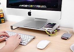 Jelly Comb Aluminum Monitor Stand W USB 3.0 Hub & Keyboard Storage, Silver