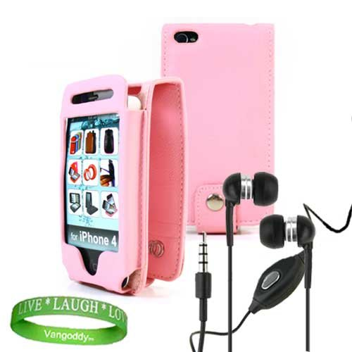 Apple iPhone 4 leather Case Accessories Kit PINK Melrose Leather Flip Case + Black iPhone 4 earphones with microphone + Live * Laugh * Love VG Silicone Wrist Band