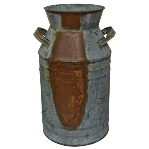 Old Fashioned Galvanized Rusty Distressed Tin Milk Can Country Kitchen Primitive Décor