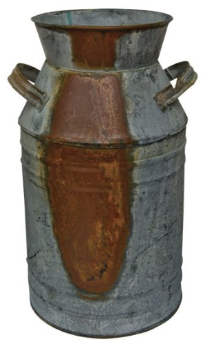 Old Fashioned Galvanized Rusty Distressed Tin Milk Can Country Kitchen Primitive Décor 0