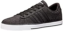 adidas NEO Men\'s SE Daily Vulc Lifestyle Skateboarding Shoe,Black/Black/White,10.5 M US