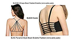 BJAC® Combo - 6 Straps Black Padded + Pyramid Style Black Bralette Padded