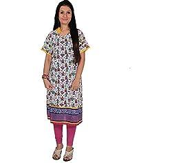 Mrignayaneei Women Cotton Semi -Stitched Kurti(K15_Multicolored)