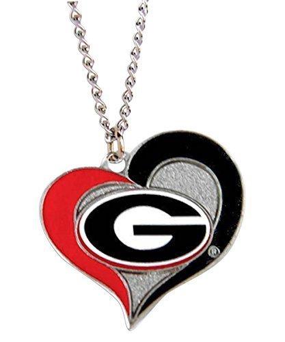 NCAA Georgia Bulldogs Swirl Heart Necklace Charm Gift Set (Georgia Bulldog Pendant compare prices)