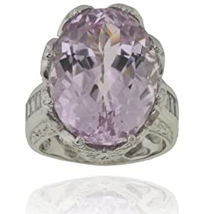 Michael Valitutti 14K White Gold Kunzite & Diamond Ring - SIZE 6