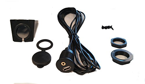 USB & 3.5mm AUX extension Flush Mount 6.5 Feet Audio cable , 1/8 AUX Car Bike Boat Motercycle Lead by IMC Audio