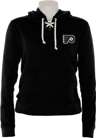 NHL Old Time Hockey Philadelphia Flyers Ladies Queensboro Lace-Up Pullover Hoodie Sweatshirt - Black (Small)