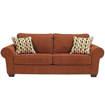Flash Furniture Benchcraft Deandre Sofa in Microfiber, Terra Cotta