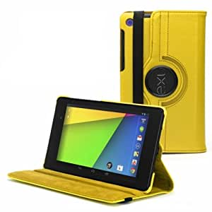 HOKO Yellow 360 Degree Rotating Leather Smart Cover Case Stand for Asus Google Nexus 7 2nd Gen (With Wake/Sleep)