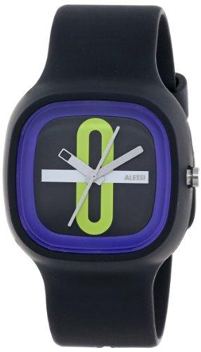 Alessi AL10020 - Reloj analógico automático unisex con correa de plástico, color negro