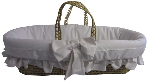 Baby Doll Satin Trim Moses Basket, Ecru