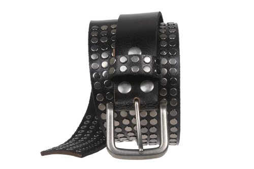 """1 1/2"""" Snap on Antique Silver Circle Metal Studded Distressed Leather Belt Size: 36 Color: Black"""