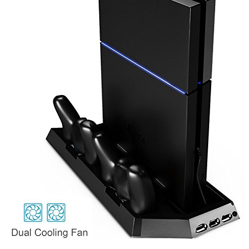 PS4 Vertical Stand Controller Charger with Cooling fan, Jelly Comb PlayStation 4 Charging Station with Dual Charger, Best PS4 Cooler Accessories with USB HUB - Black (Ps4 Fan Charging Station compare prices)