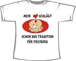 Mein Herz schläft schon aus Tradition für FREIBURG; T-Shirt weiß