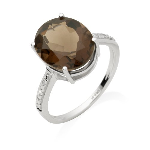 Smoky Topaz Ring, 9ct White Gold, Diamond and Smoky Topaz Ring, Size L, by Miore, JM039R6WM