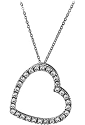 Sterling Silver Round Cubic Zirconia Open Heart Pendant Necklace 18 Inches Silver Chain SPJ