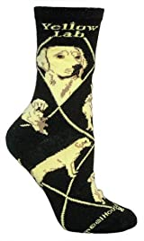 Yellow Lab Dog Black Cotton Ladies Socks