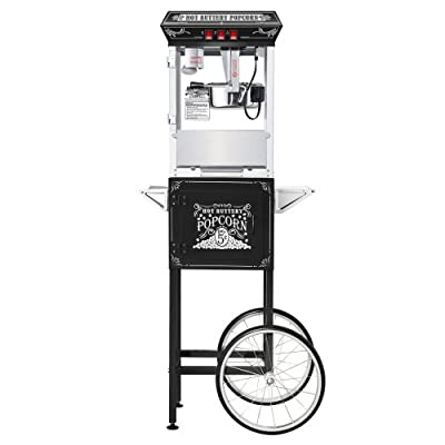 Great Northern Black Good Time 8oz Full Popcorn Popper Machine w/ Cart, 8 Ounce from Great Northern Popcorn Company