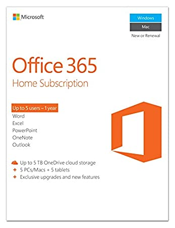 Microsoft Office 365 Home 1 Year Subscription | 5 PC or 5 Mac Key Card