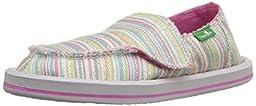 Sanuk Kids Donna Girls-K Sidewalk Surfer (Toddler/Little Kid), Aqua/Pink Stripe, 9 M US Toddler