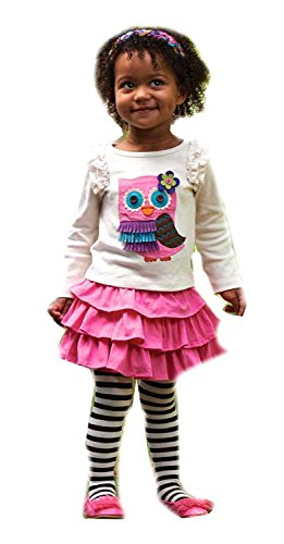 Mud Pie Baby Girl Forest Friends Collection Owl Skirt 2 Piece Set With Tights (12-18 Months) front-576727