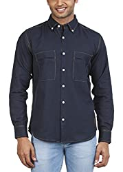 Zovi Cotton Linen Regular Fit Navy Blue Solid Casual Shirt - Full Sleeves 1060670510139