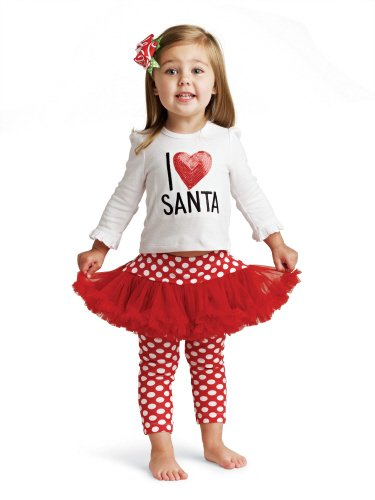 Mud Pie Baby and Toddler Girls I Love Santa Tunic and Skirt with Leggings Outfit
