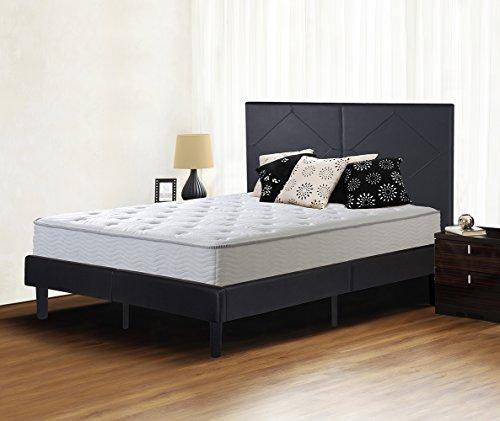 Olee Sleep Faux Leather Wood Slate Folding Platform Bed Frame Diamond Full 14PB01F (Full Black Bed Frame compare prices)
