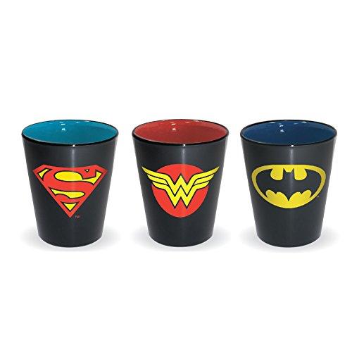 DC Comics Superman - Wonder Woman - Batman Logo Shot Glass (3 Piece Set)