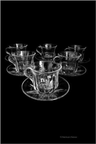 Set 6 Clear Heat Resistant Tea / Coffee Glass Cups Glasses With Saucers