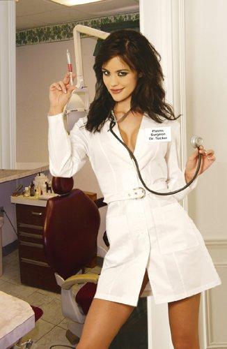 Plastic Surgeon - Doctor 5pc Costume - Long Sleeve Mini Dress, Belt, Needle and Stethoscope