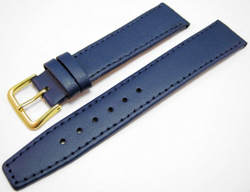 Blue Leather Watch Strap Band With A Stitched Edging And Nubuck Lining 18mm