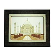 "The Bombay Store Wood & Glass Frame - Taj Mahal L 16"" H 13"""