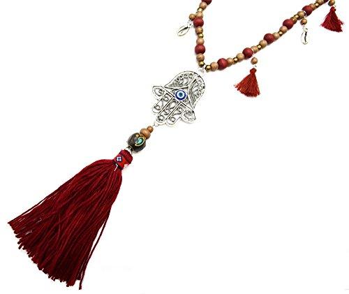cl1302l-lunga collana con perle legno e ciondolo mano di Fatima traforata metallo invecchiato argento con conchiglie e pon pon etnica Bordeaux-moda fantasia