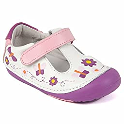 Momo Baby Girls First Walker/Toddler Daisy & Butterfly Leather Shoes - 6 M US Toddler