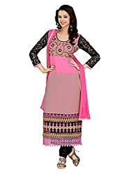 Metroz Women's Pink Colored Georgette Dress Material with Dupatta