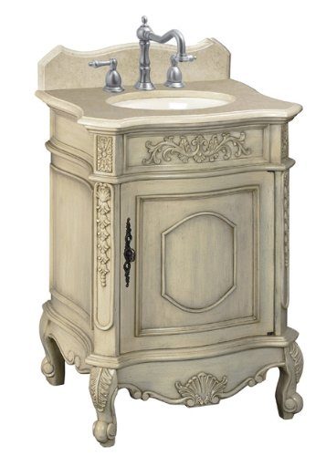 Belle Foret BF80030R Single Basin Bathroom Vanity, Antique Parchment