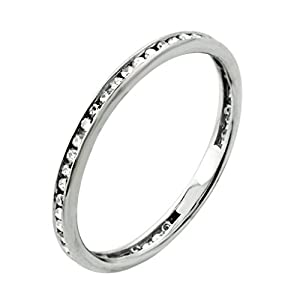 0.31 CT.10K White Gold Channel Set Round Natural Diamond Anniversary Band (Color G-H, Clarity I2-I3)