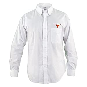 Texas Longhorns Mens White Accomplish Buttondown Long Sleeve Shirt by Antigua