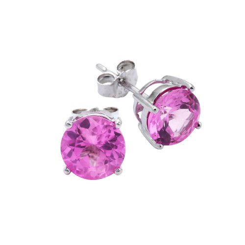 Beautiful .925 Sterling Silver Pink Cubic Zirconia Stud Earrings 2.00 Carat Total Weight Comes in a Gift Box & Special Pouch
