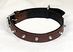 Pet Club51 1.25 HIGH QUALITY STYLISH DOG COLLAR WITH SPIKE - BROWN
