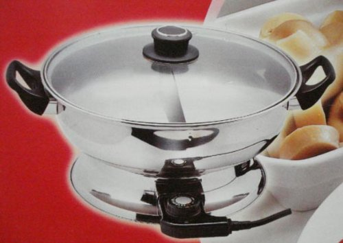electric shabu shabu pot with divided pot and strainers